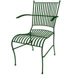 Smidesstol Grön med armstöd