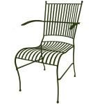 stol i smide olivgrön med armstöd